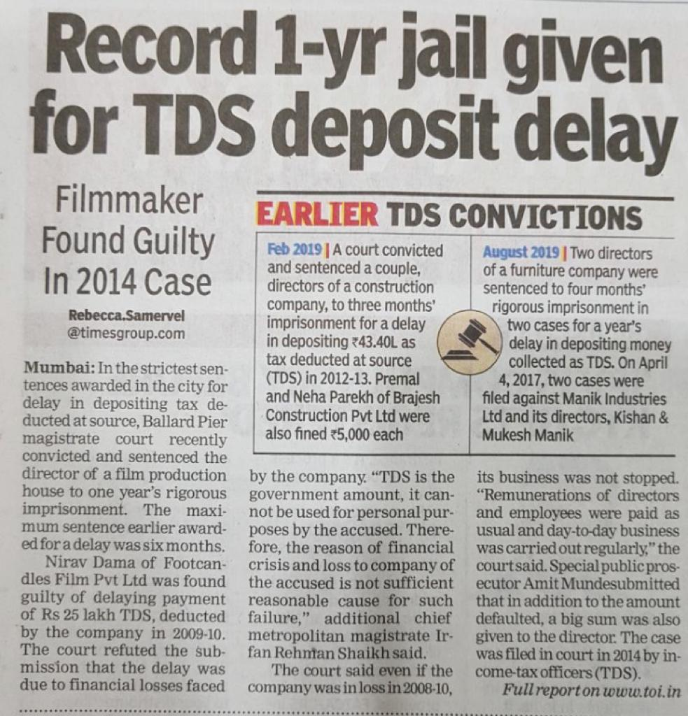 Record 1-Year Jail given for TDS deposit delay