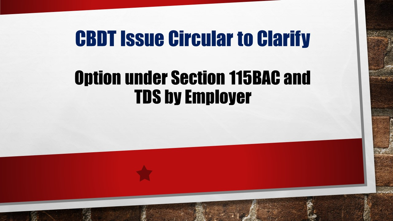 Clarification in respect of option under section 115BAC